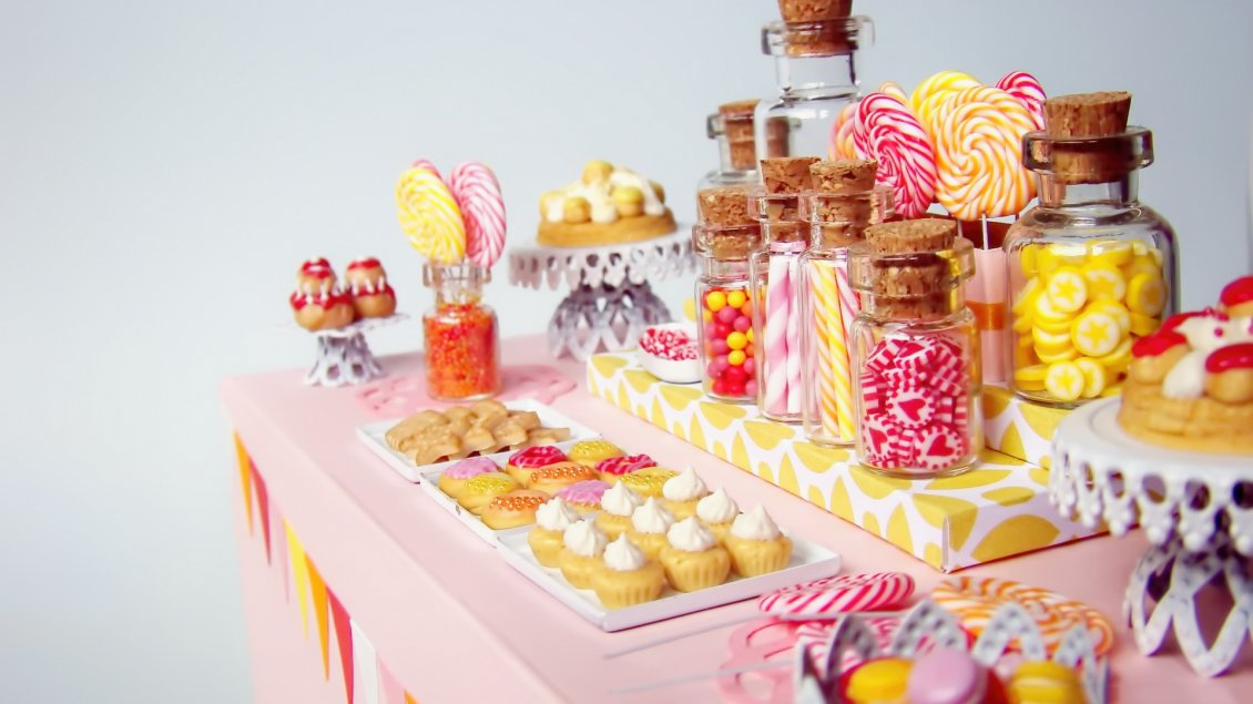 Download Wallpaper Colorful cookies on the table - Candy dessert table