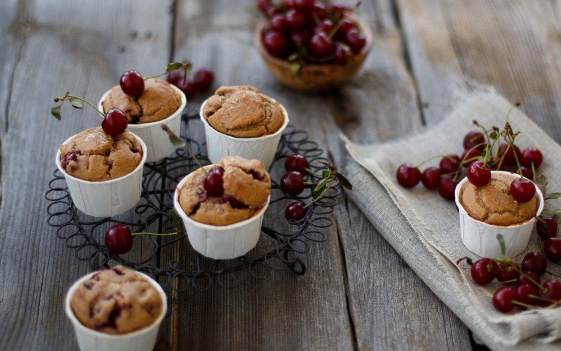 Download Wallpaper Muffins with cherry on the table