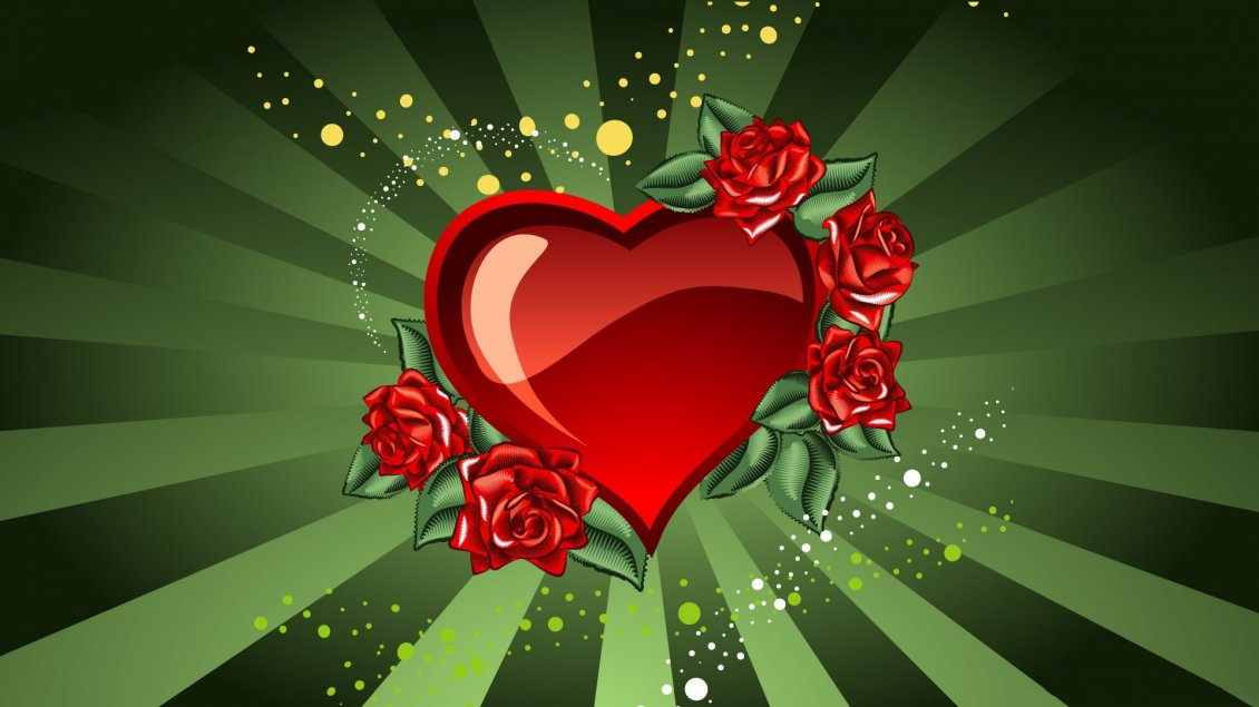 Download Wallpaper Heart and red rose - Love wallpaper