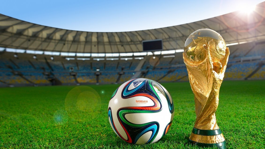 Download Wallpaper Fifa world cup - Football and cup on the stadium