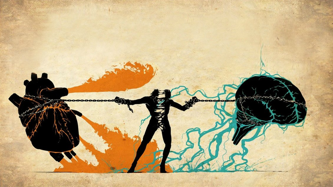 Download Wallpaper Man trying to keep the heart and brain together
