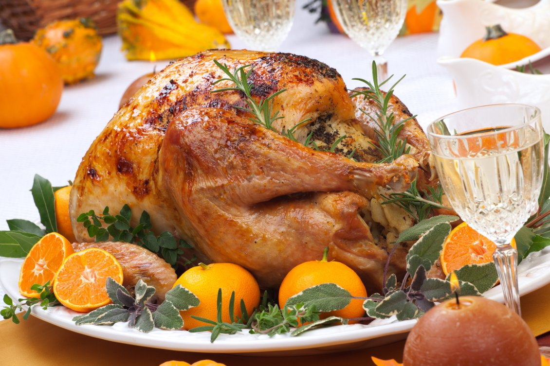 Download Wallpaper Roast chicken with orange and greens