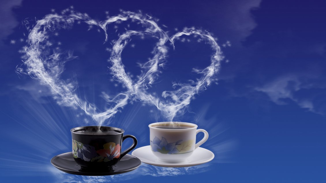 Download Wallpaper Two coffee cups for two hearts