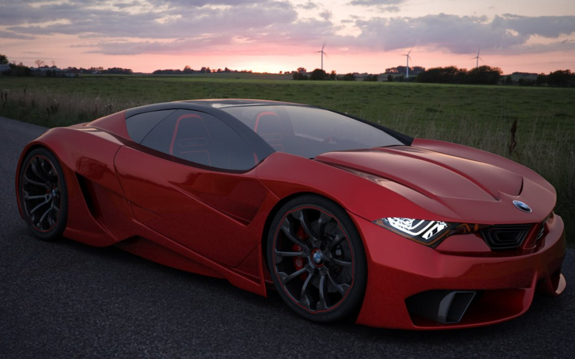 Download Wallpaper Red BMW on the road near the field - Sport car