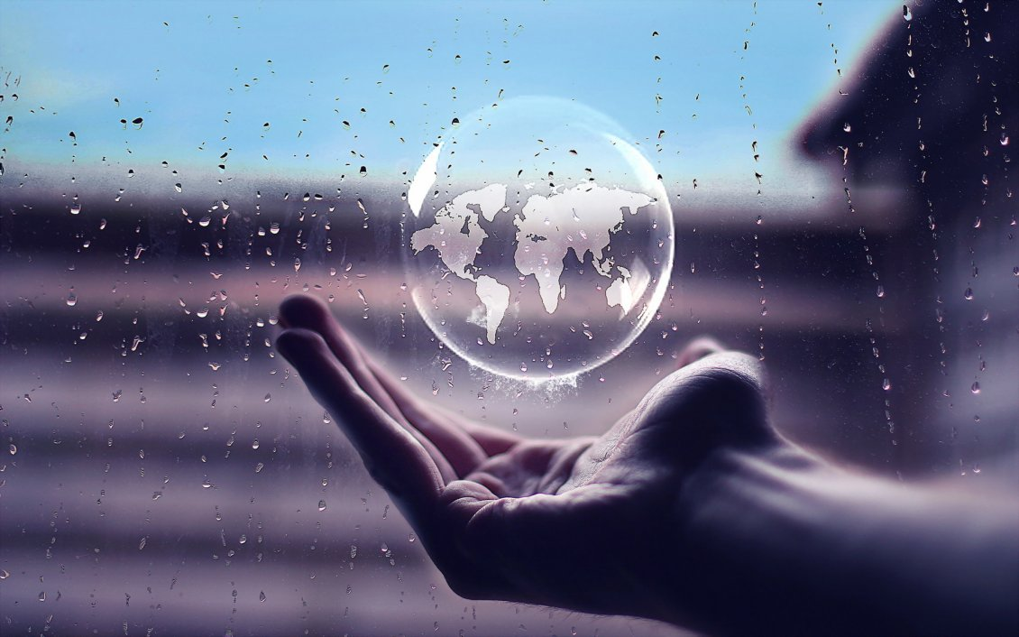 Download Wallpaper Rain bubble in hand with the earth map - Artistic wallpaper