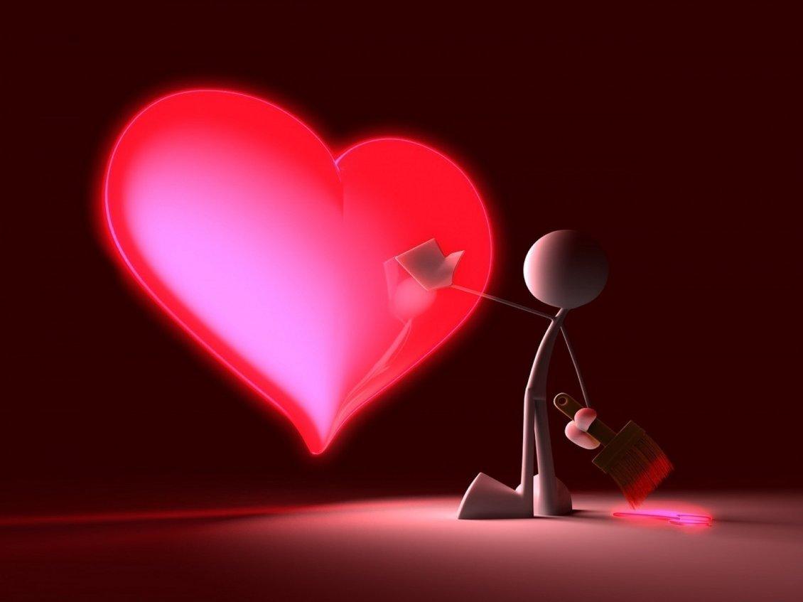 A Little Man Drew A Big Heart Love Wallpaper