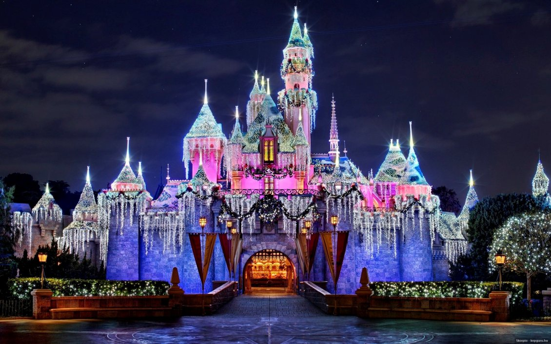 Beautiful Disneyland Castle In The Night
