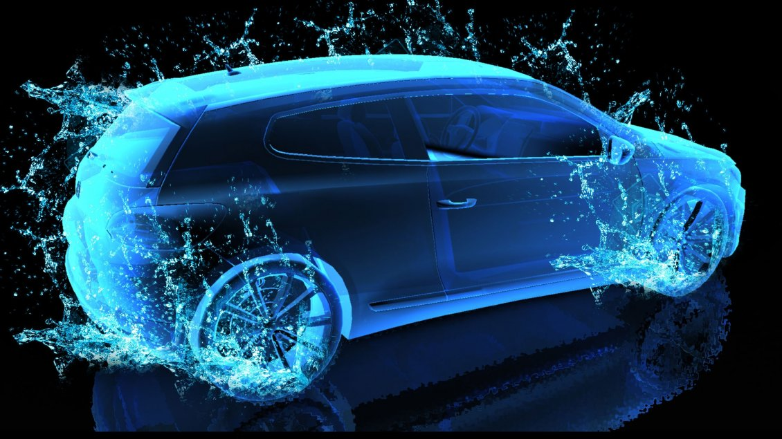 Blue Water Car 3d And Hd Wallpaper