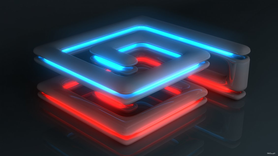 Blue And Red Neon Spiral 3d And Hd Wallpaper