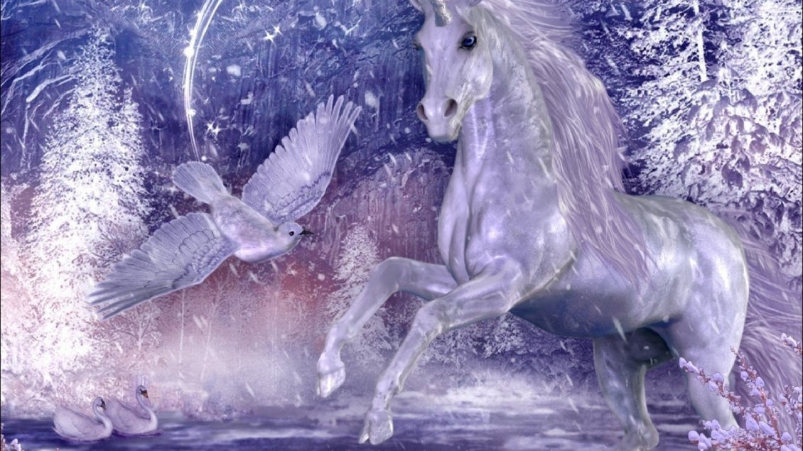Download Wallpaper A white unicorn and dove and two swans on the water