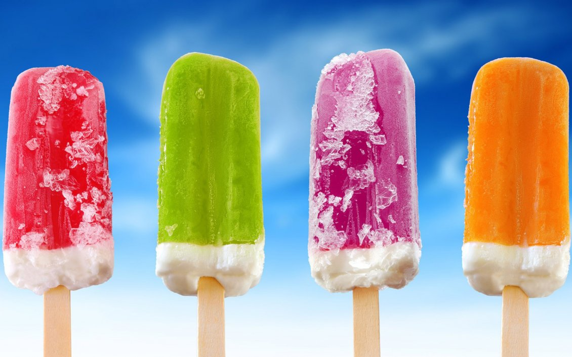 Download Wallpaper Four ice creams in different colors for a hot day