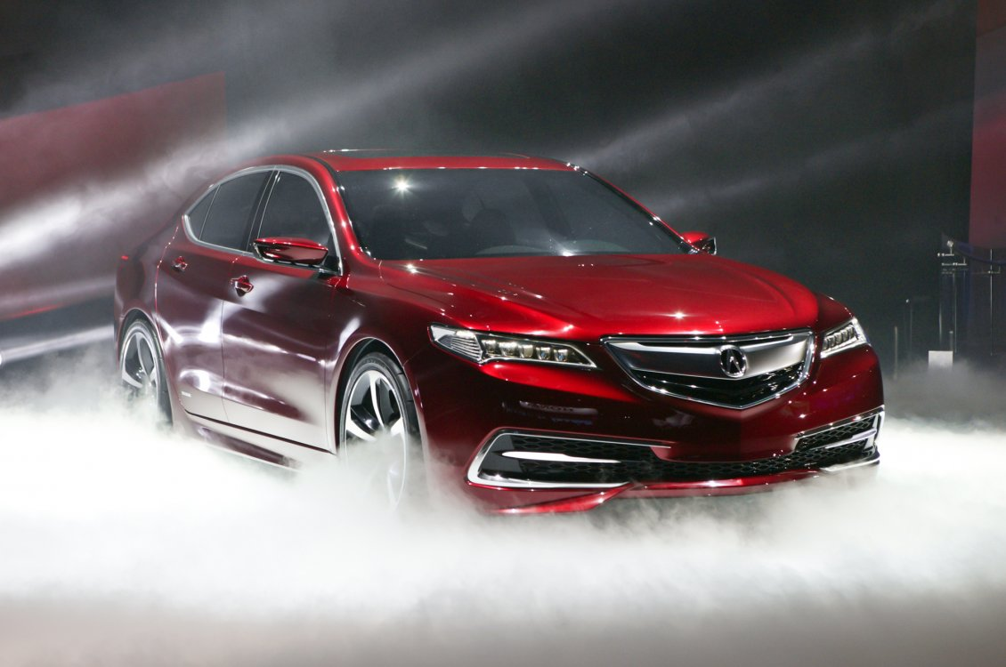 Download Wallpaper Red Acura TLX car at presentation