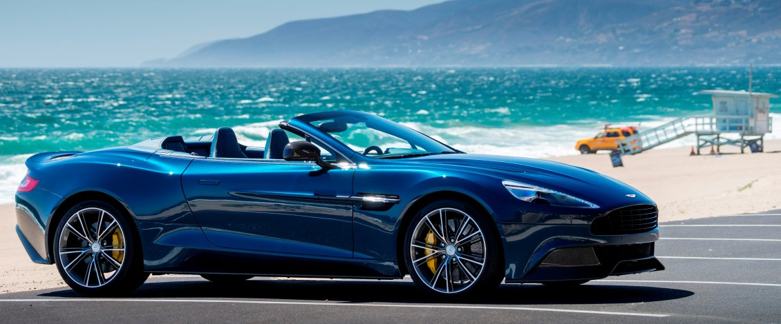 Download Wallpaper Blue and convertible Aston Martin Vanquish Volante