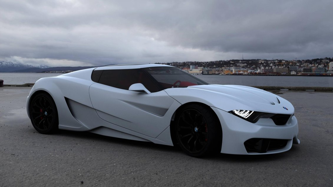 Download Wallpaper BMW M9 concept on the sea shore