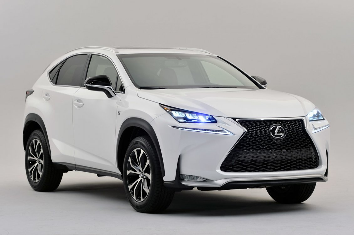 Download Wallpaper White Lexus NX 300h with lit headlights