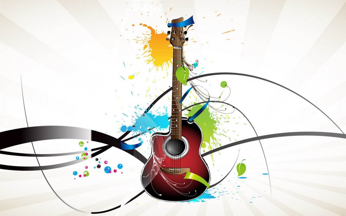 Download Wallpaper Abstract red guitar and many color spots