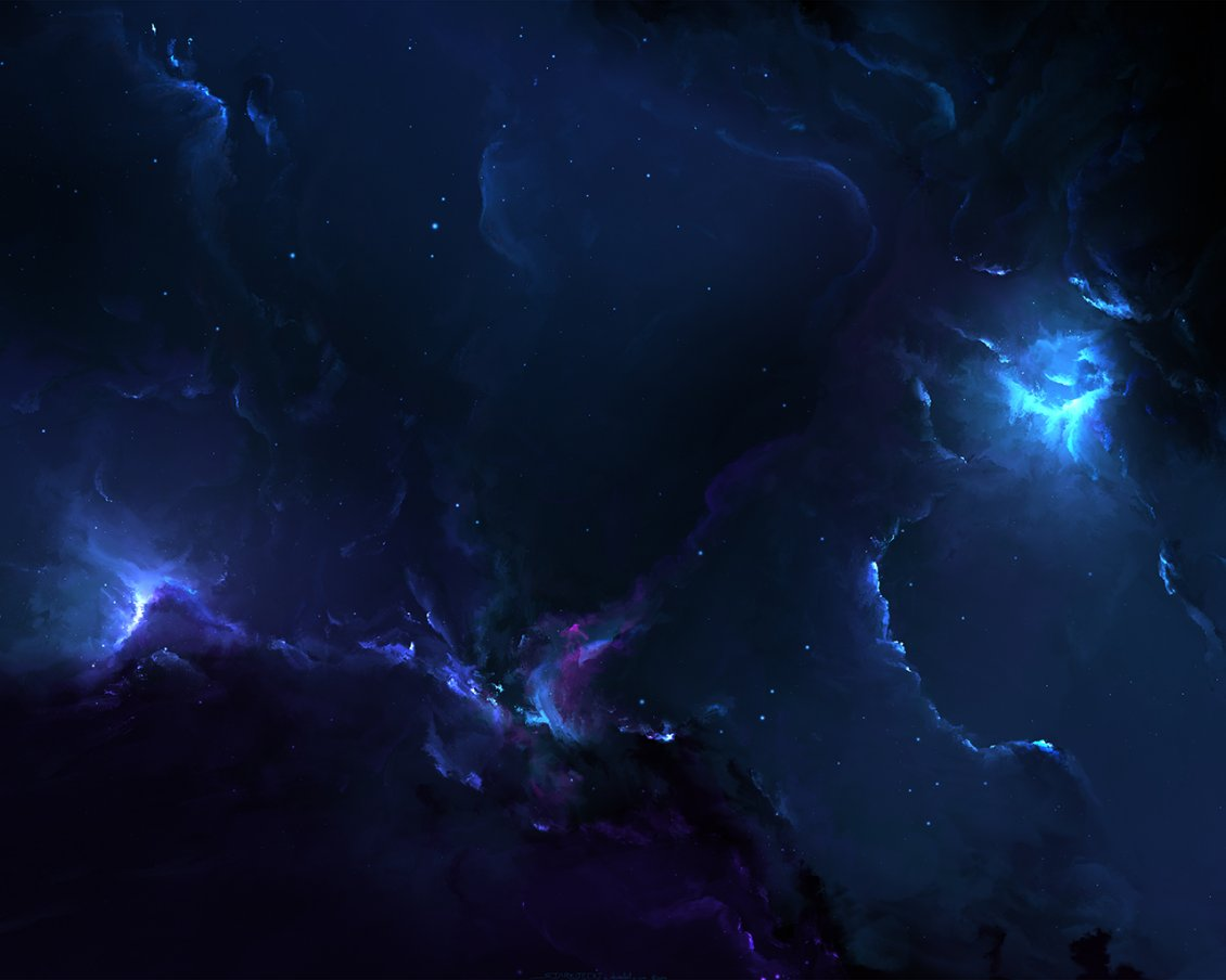 Abstract Dark Sky With Blue Light Fantasy Wallpaper