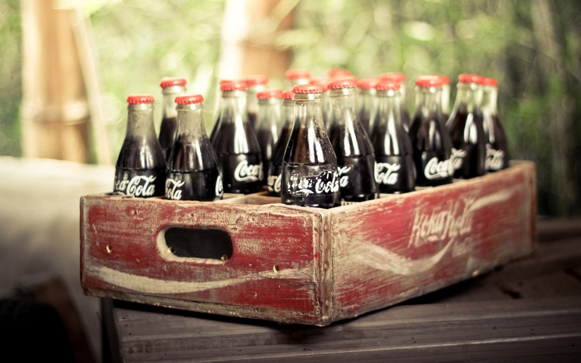 Download Wallpaper Old wooden box full with coca cola bottles