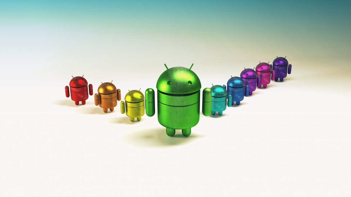Download Wallpaper A team of android in different colors