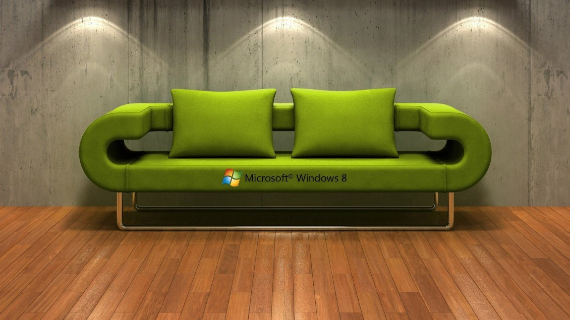 Download Wallpaper A green couch with windows 8 logo
