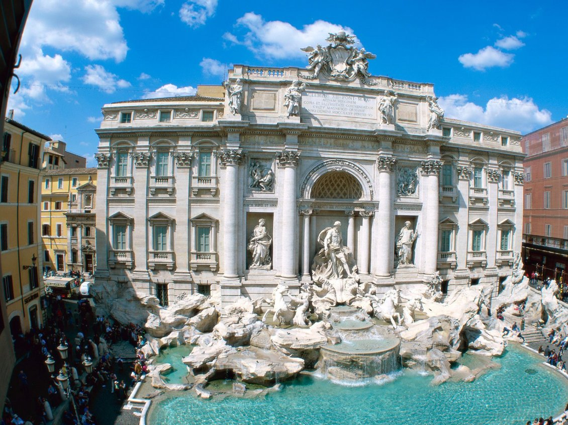 Download Wallpaper Sightseeing in Rome, Italy - Trevi Fountain