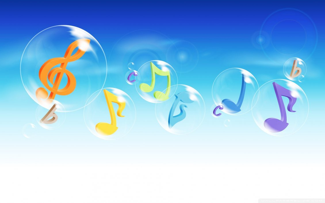Sol key, musical notes and letters in the bubbles