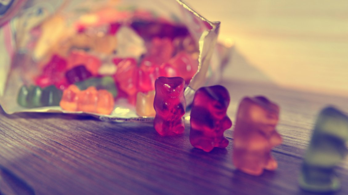 Download Wallpaper A package of jelly bears on the table