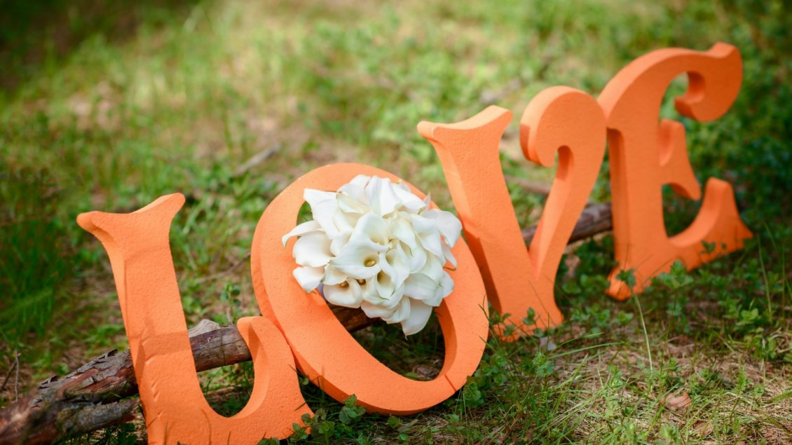 Download Wallpaper Orange love letters on a wood in the grass