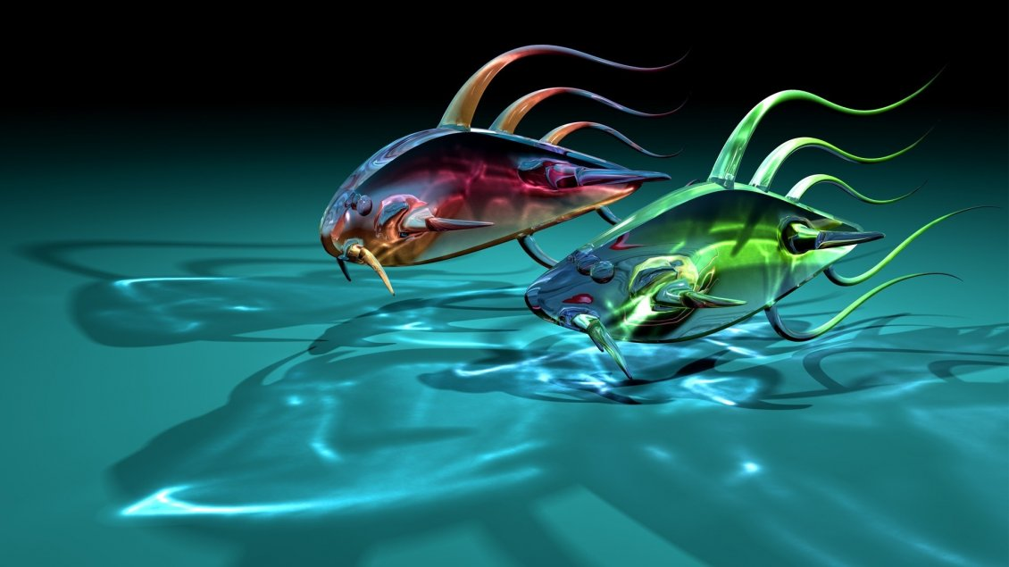 Download Wallpaper Abstract colorful fish in water - Fish race