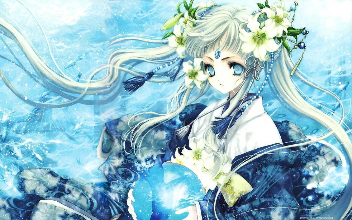 Download Wallpaper An anime girl with a crystal globe and flowers in hair