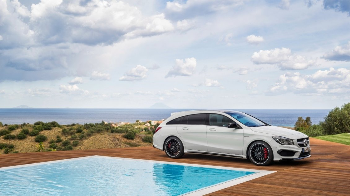 Download Wallpaper White Mercedes CLA 45 AMG near a pool