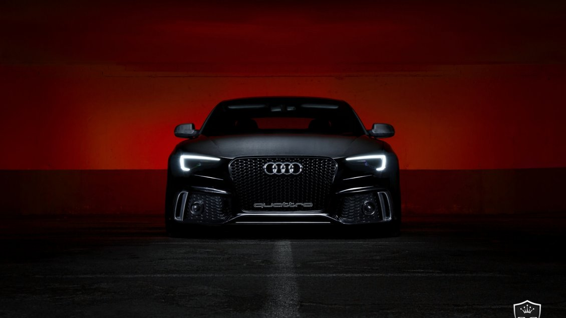 Download Wallpaper Black Audi S5 Front View - Dark wallpaper