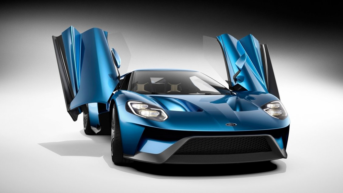 Download Wallpaper Blue Ford GT Studio with opened doors