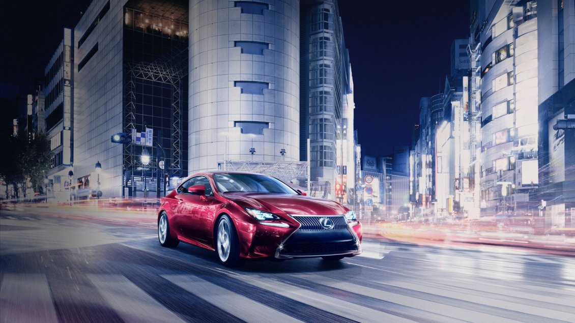 Download Wallpaper Beautiful red Lexus RC Coupe on road