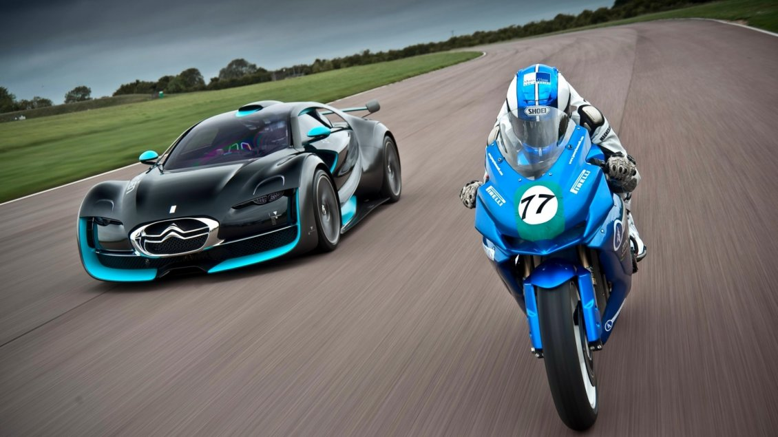Download Wallpaper Blue and black Citroen and blue motorcycle race