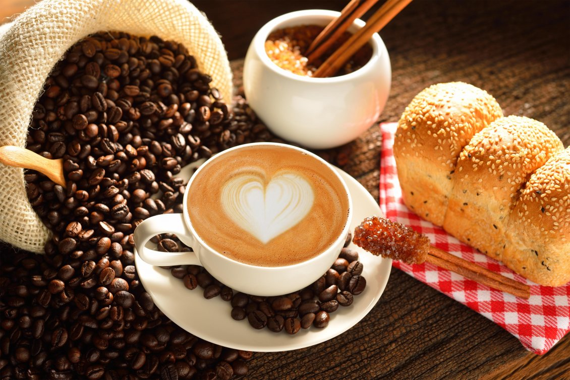 Download Wallpaper Heart in the coffee - good morning