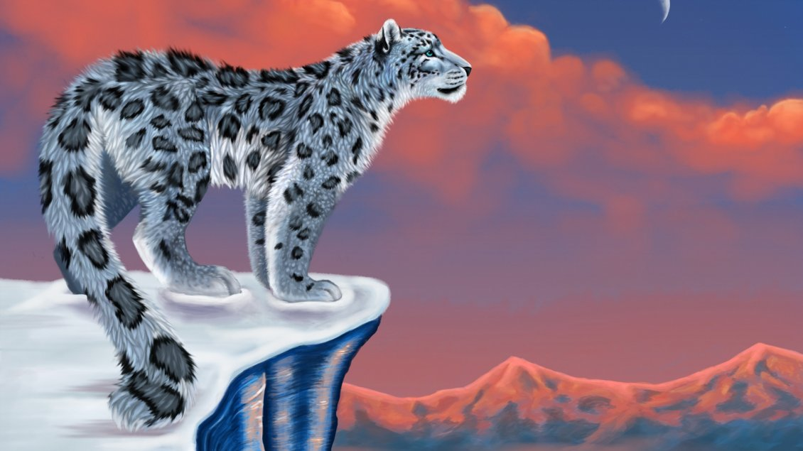 Download Wallpaper A drawing with a gray leopard on rock in night