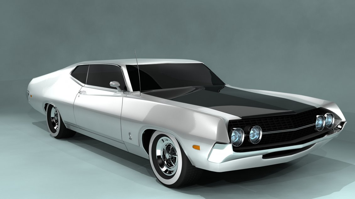 Download Wallpaper White and black Ford Torino Cobra