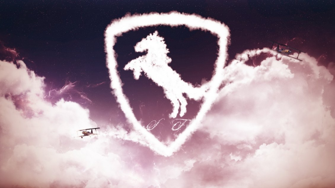Download Wallpaper Ferrari logo made of clouds and a plane