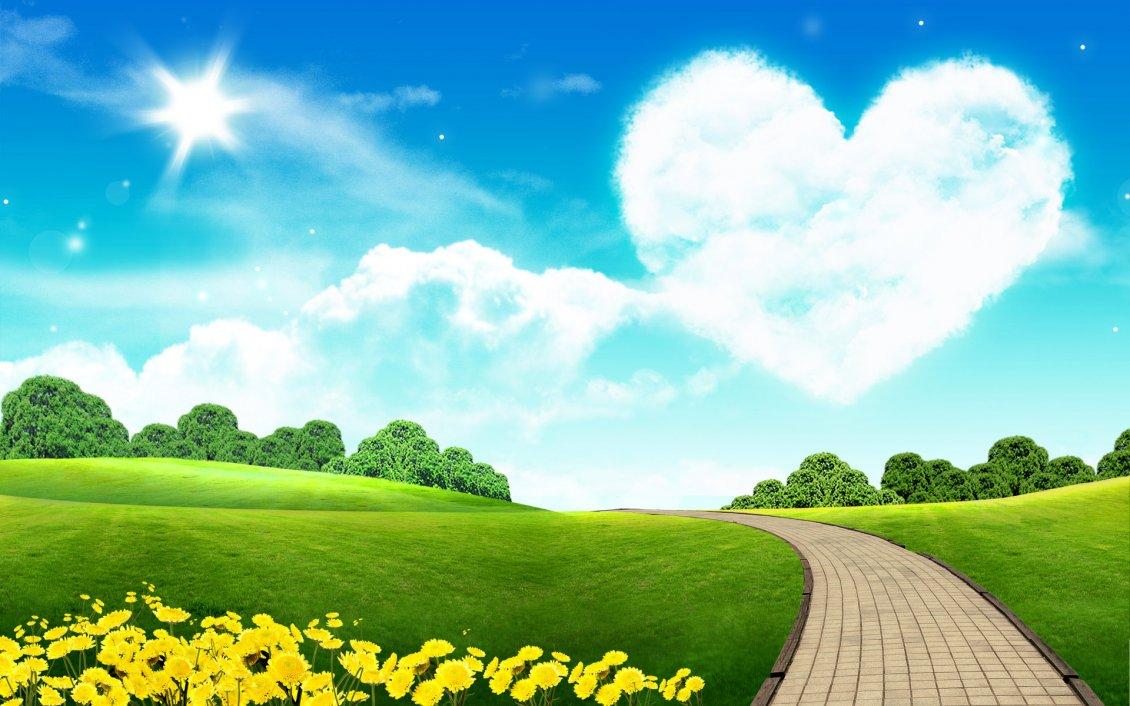 Download Wallpaper Big heart on the sky - beautiful nature landscape