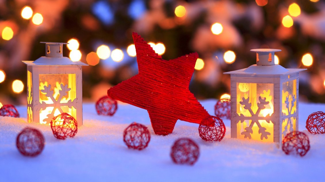 Red Christmas Star And Accessories Winter Hd Wallpaper