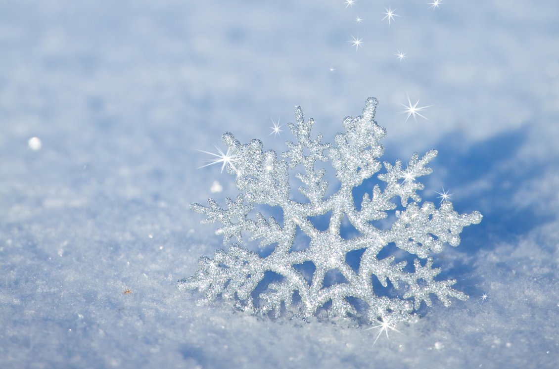 Download Wallpaper 3D snowflake in the snow - HD winter wallpaper