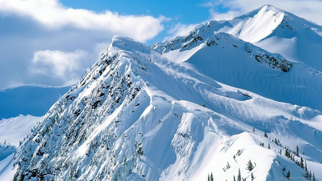 Download Wallpaper Big white mountains - beautiful sunny winter day