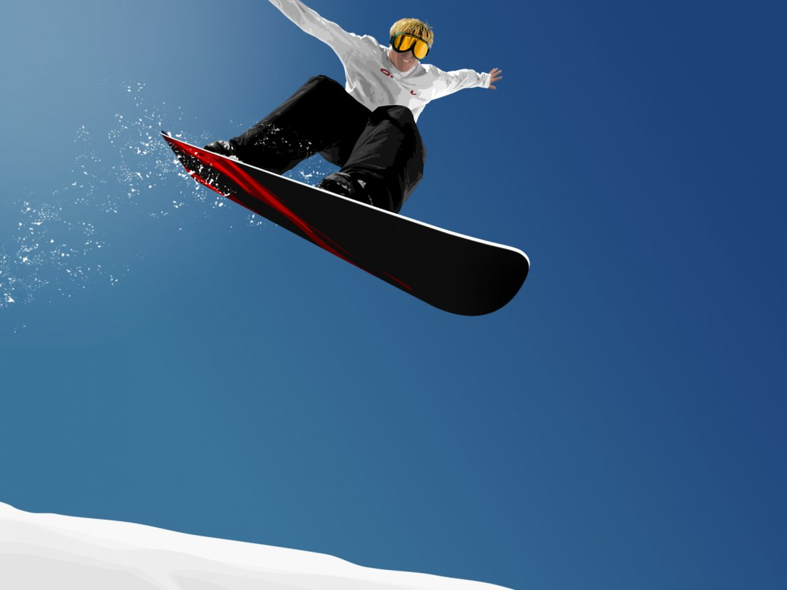 Perfect Jump With Snowboard Winter Sport
