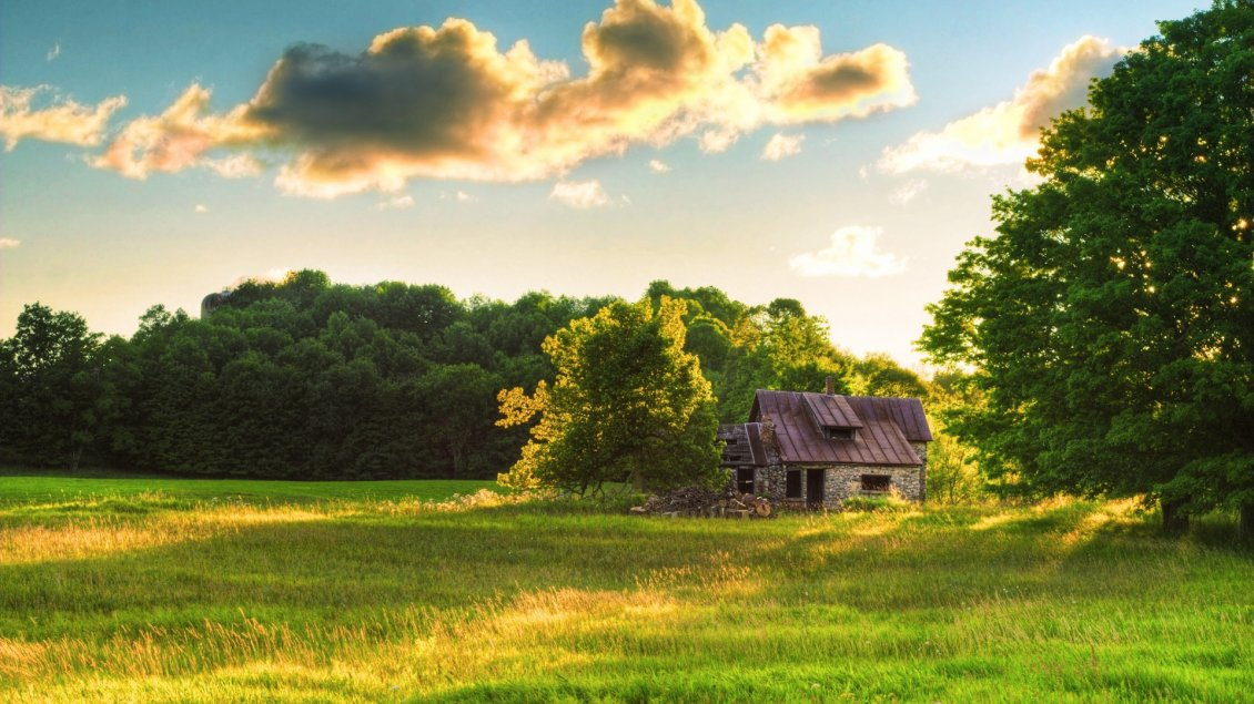 Download Wallpaper Old house in the middle on the green field - Fresh air