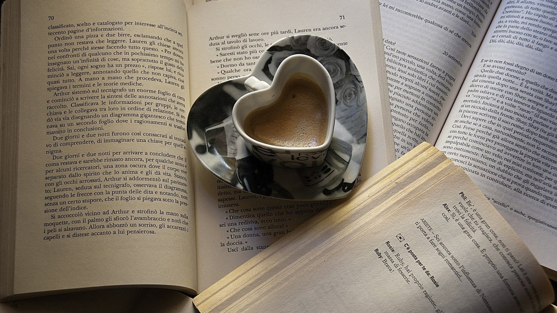 Download Wallpaper Read a great book and drink a special coffee - Good morning