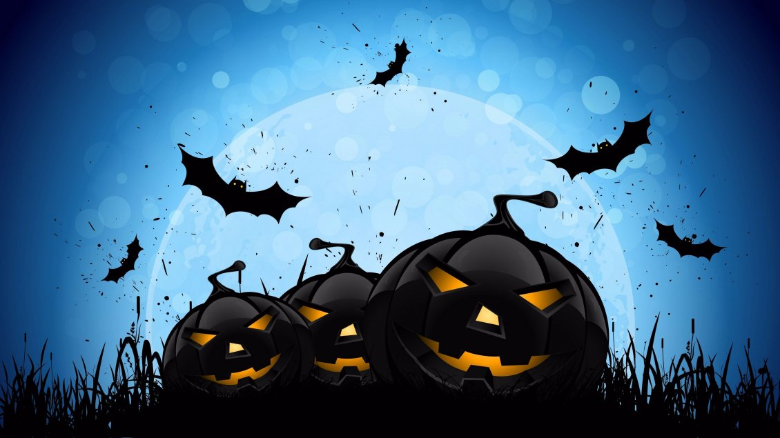 Download Wallpaper Dark pumpkins in the dark Halloween night