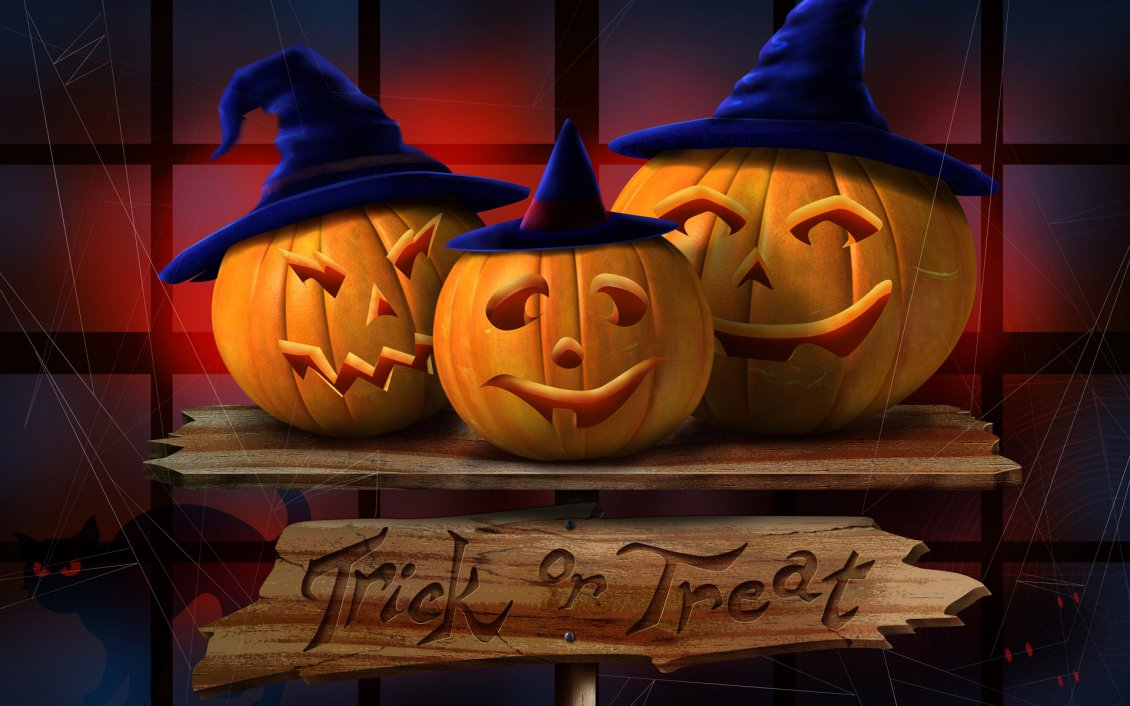 Download Wallpaper Trick or Treat - Funny pumpkins with hats on Halloween night