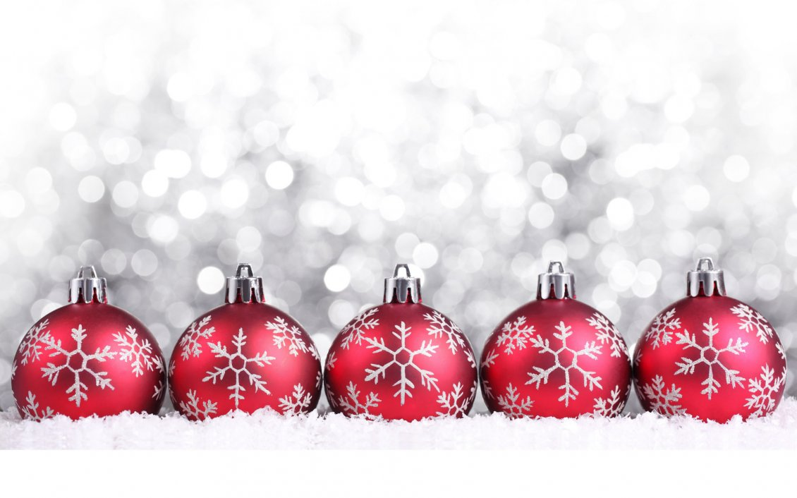 Download Wallpaper Five red Christmas ball on a silver background
