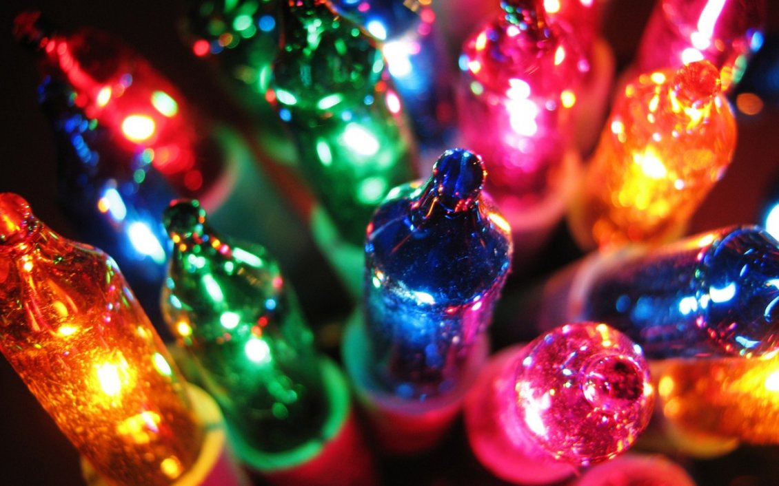 Download Wallpaper Macro colorful Christmas lights - Happy Winter Holiday